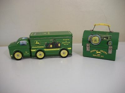 Collectible John Deere Tin Lunch Box And John Deere Tin Truck Container