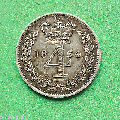 1864 - Queen Victoria - Silver Maundy Fourpence - SNo41163