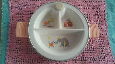 Vintage Super Cute  Baby Child Warming Devided Bowl Dish Elephant Bear Bird Girl