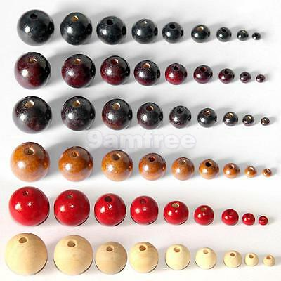 50Pcs Round Wooden Beads DIY Jewelry Making Necklace Craft Findings choose color