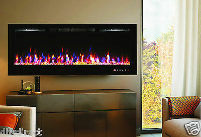 """1500W 50"""" Black Built-In Recessed Wall Mounted Electric Fireplace"""