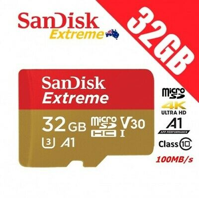 SanDisk Extreme 32GB Micro SD SDHC TF Class 10 Memory Card 100MB/s V30 A1 4K FHD