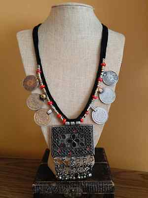 """Vintage Kuchi Square Pendant Coin Necklace Tribal Style Boho Chic Jewelry 31.5"""""""
