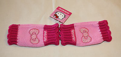 Hello Kitty Girls Pink Acrylic Fingerless Gloves Size 4 - 6 New