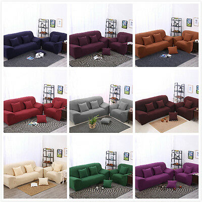 Plain Color Spandex Stretch Easy Fit Sofa Cover Slipcover for 1 2 3 4 seater L