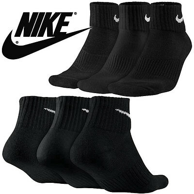 Nike 6 Pair 6 Pack New Socks Quarter Black Men's Size 8-12 Performance Cushioned