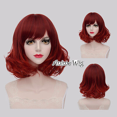 Lolita Mixed Red Short 40CM Curly Fashion Party Women Cosplay Wig + Wig Cap