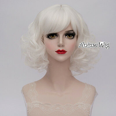 Lolita White Short 35CM Curly Fashion Party Women Cosplay Wig + Wig Cap
