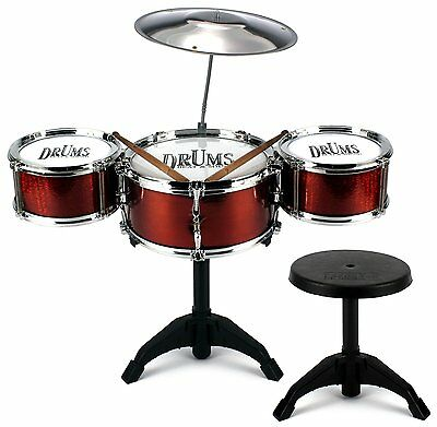 Childs My First Drum Kit Play Set Drums Cymbal Musical Toy Instrument With Stool