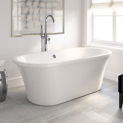 1700mm Modern Freestanding Designer Bathroom Bath Tub Gloss White BR250