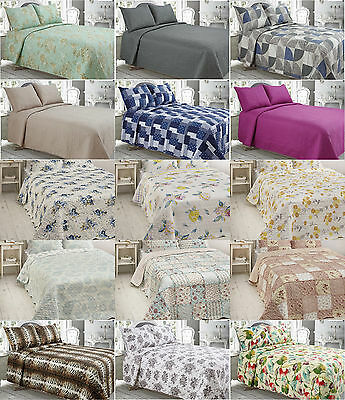 3Pcs Bedspread Set Pillow Shams Quilted Bedspread Set Double King Size New