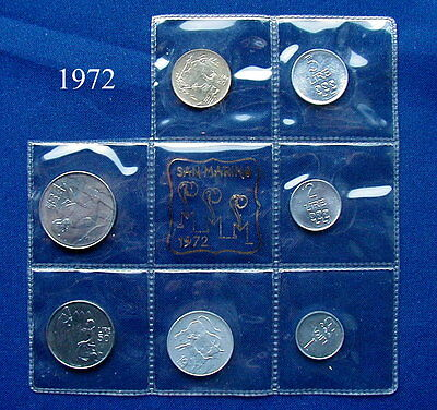 1972 SAN MARINO (Italy) complete set coins UNC without silver