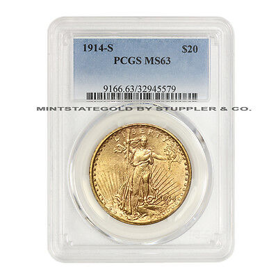 1914-S $20 Saint Gaudens PCGS MS63 Choice San Francisco Gold Double Eagle coin