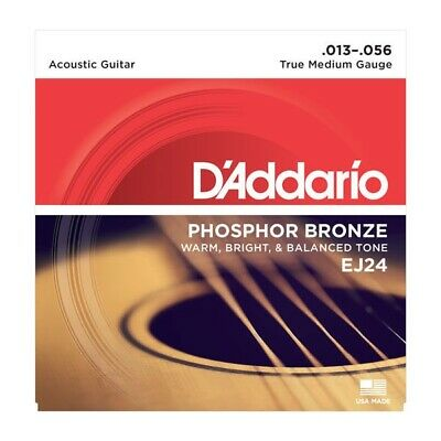 DAddario EJ24 Phosphor Bronze Acoustic Guitar Strings, True Medium, 13-56