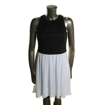 Dknyc Black White Chiffon Color Block Sleeveless Party Cocktail
