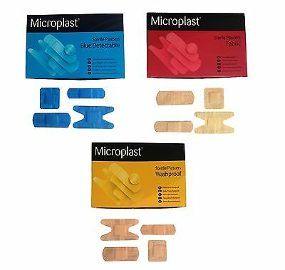 Blue Detectable - Washproof - Fabric Plasters - 5 Sizes- First Aid Cuts & Burns