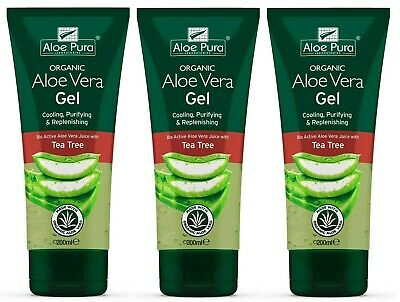 3 Packs of Aloe Pura Skin Treatment Aloe Vera Organic Gel with Tea Tree - 200ml