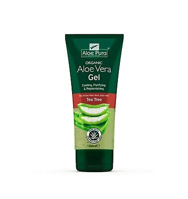 4 Packs of Aloe Pura Skin Treatment Aloe Vera Organic Gel with Tea Tree - 200ml