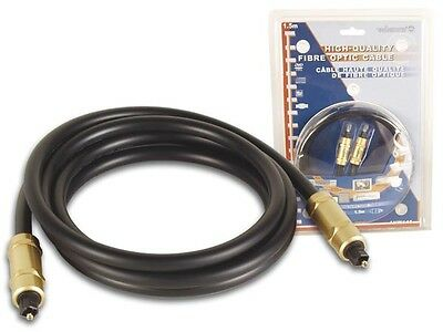 """Velleman AVW145 GLASS FIBRE OPTIC CABLE, 2 x TOSLINK MALE (4.92"""")"""