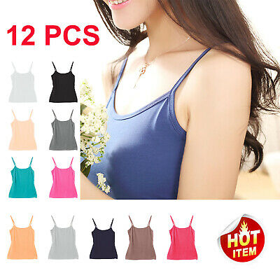 12X Women's Basic Solid Tank Top CAMI Stretchy Spaghetti Strap Adjustable