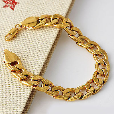 Vintage Mens Womens 18K Yellow Gold Plated Cuban Link Chain Bracelet 8 Inch