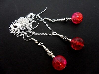 A Red/pink  Crackle Glass Bead Necklace And Earring Set. New.