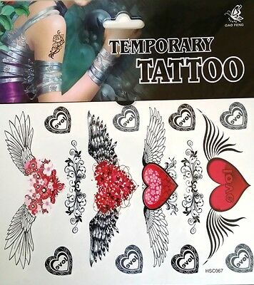 Temporary Tattoo Angelic Heart Stickers Body Art