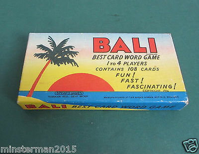 BALI - VINTAGE CARD WORD GAME 1956 COMPLETE made by Spear's