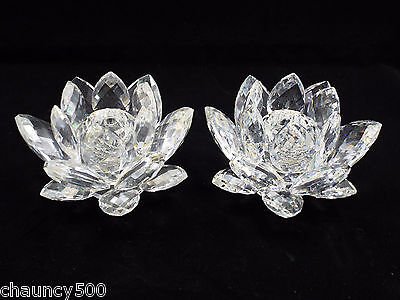 Swarovski crystal lotus flower candle holders 2 pc 17500 picclick swarovski crystal lotus flower candle holders 2 pc mightylinksfo