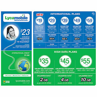 Lycamobile Plus Sim Card 1st Month $35 Unlimited Plan Included 3 in 1 FOR $15