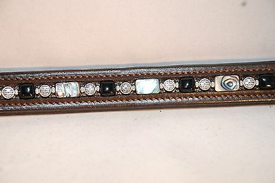 "17"" Brown Leather Browband w/ Abalone, Onyx and Metal Beads"