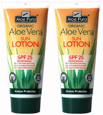 2 Packs of Aloe Pura Organic Aloe Vera SPF 25 Sun Protection Lotion 200ml
