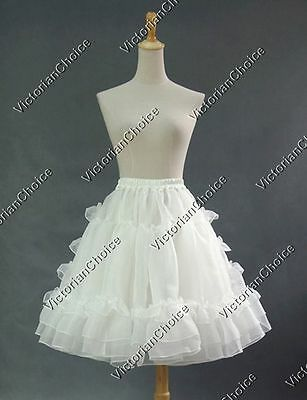 Victorian Lolita 2-Layered Petticoat Tutu Sheer Skirt Halloween Costume K001
