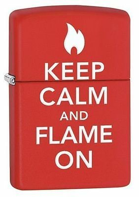 Zippo Windproof Lighter With Keep Calm and Flame On, 28671, New In Box