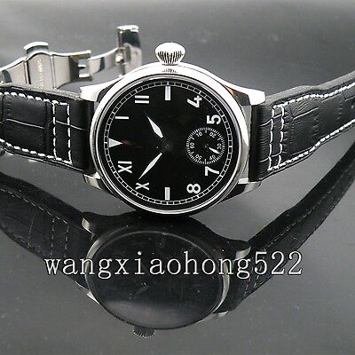 44mm Parnis Black dial Mechanical 6498 Deployment Buckle Men wrist Watch 132