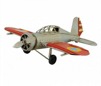 Vintage Style Metal Plane - Silver and Red - 16cm - Auto Petit