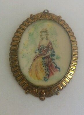 Art nouveau crinoline lady brooch by TLM Thomas L mott