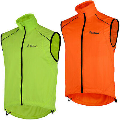 Didoo Mens Cycling Gilet Lightweight Wind Resistant Breathable Jacket Reflective