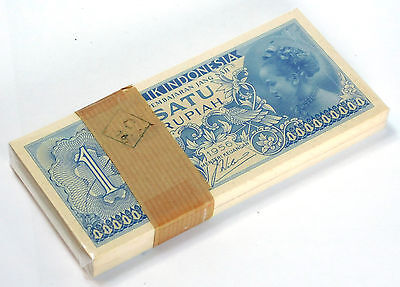INDONESIA 1 RUPIAH 1956 P 74 UNC (Bank bundle 100 Notes)