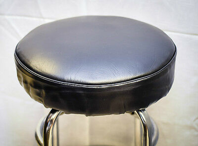 LOT of  SIX -Bar Stool Slip On Seat Covers, Vinyl  With Foam Padded... BLACK