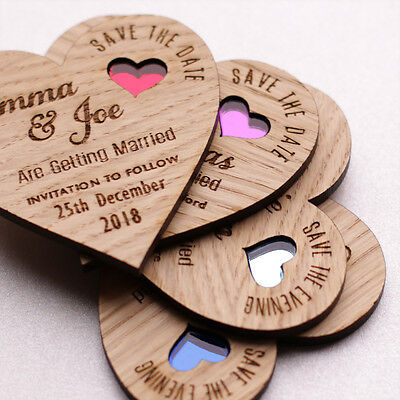 Wooden Heart Save The Date Magnets Wood Wedding Magnets Coloured Hearts