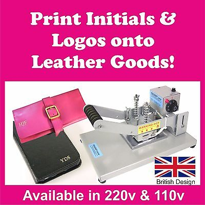 LOW COST BRITISH DESIGNED LEATHER EMBOSSING MACHINE, HOT FOIL STAMPING, 110-220v