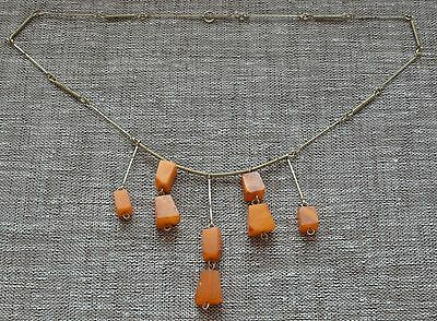 Genuine vintage natural baltic amber necklace pendant egg yolk butterscotch
