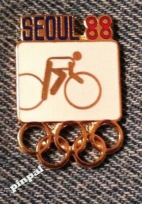 Cycling Olympic Pin Badge ~ Pictogram White ~ 1988 ~ Seoul, Korea