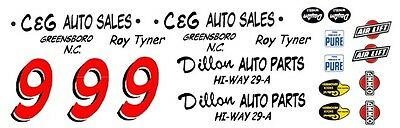 #9 Toy Tyner 1957 Chevy Dillon Auto Parts 1/25th - 1/24th Scale WATERSLIDE DECAL