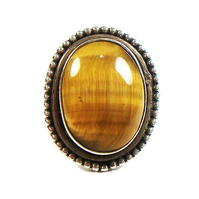 Vintage Tiger's Eye & Silver Ring - Large Stone - Size 5 - Unsigned - C. 1970's