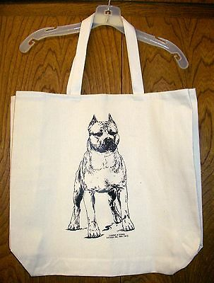 AMERICAN STAFFORDSHIRE TERRIER [Cropped Ear] Coming&Going Cotton Canvas Tote Bag
