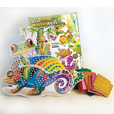 New make your own Mosaic animals - Chameleon Frog Fish DIY craft kit for kids 5+