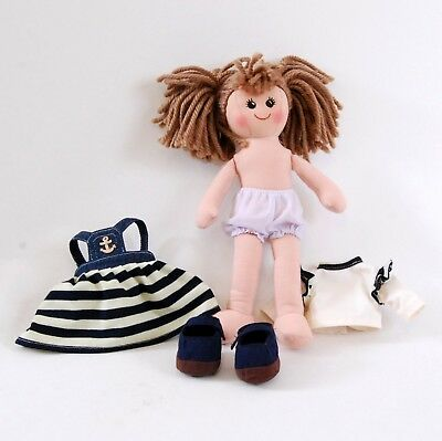 New dress up girl doll sailor dress & shoes 35cm tall