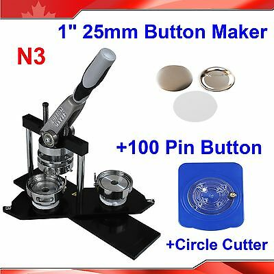 "N3 1"" 25mm Badge Button Maker+ Circle Cutter+ 100 Metal Pin Back+Mould  KIT"